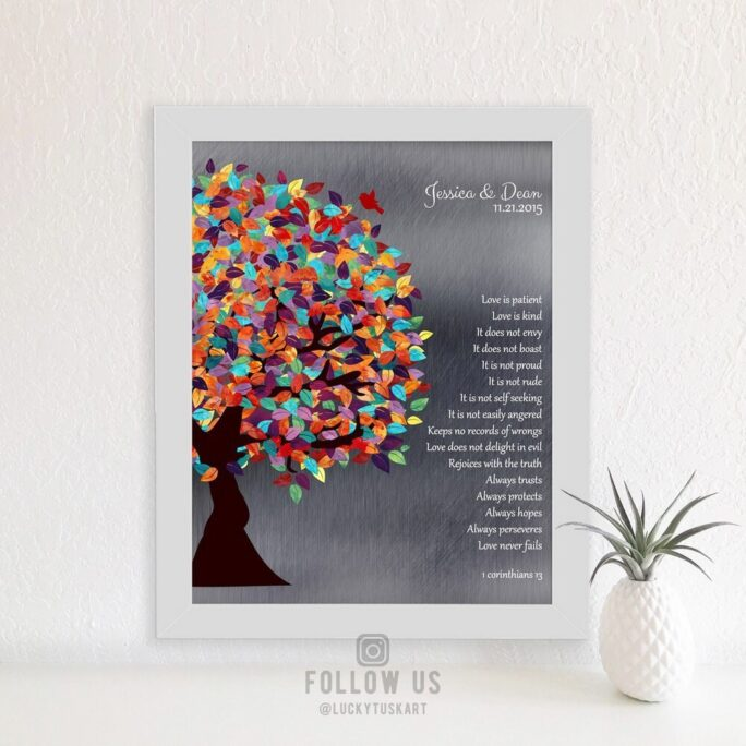 1 Corinthians 13, 10 Year Anniversary Gift, Love Is Patient, Colorful Tree, Personalized Custom Metal, Paper, Canvas Art Print #1289