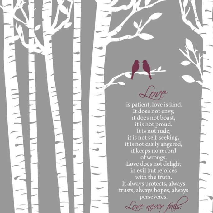 1 Corinthians 134-7 Love Is Patient Kind/ Birch Trees With Birds, Name & Date/Wedding Gift/Shower Gift/ 8x10+