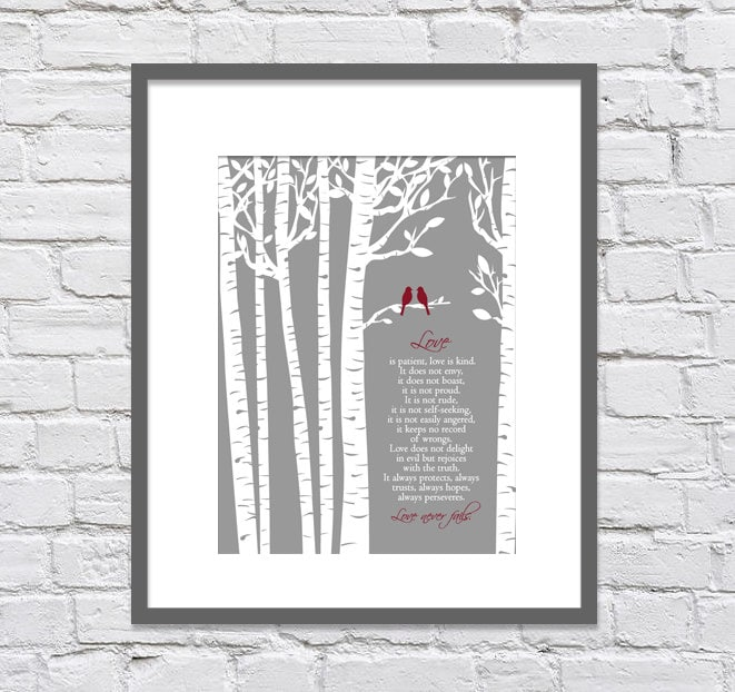 1 Corinthians 134-7 Love Is Patient Kind/Birch Trees With Love Birds/Gift For Husband/Gift Wife/Wedding Gift/Shower Gift/ 8x10+