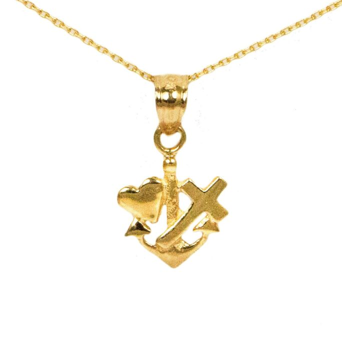 10K Dainty Yellow Gold Faith Hope Love Necklace With Chain; Prayer Religious Jewelry For Faith, Symbol