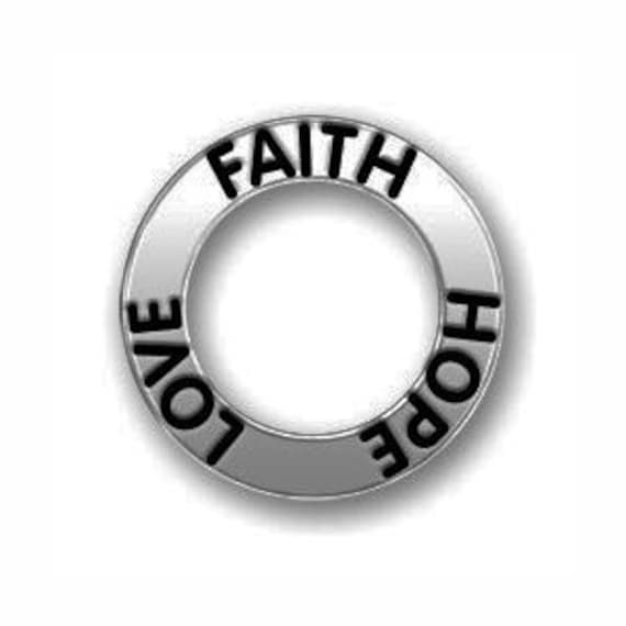 5 Silver Affirmation Ring Faith Hope Love Charm 22mm By Tijc Sp0559