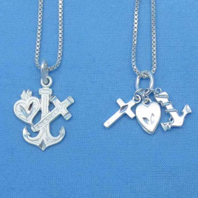 925 Sterling Silver Faith Hope Charity Love Charm Pendant Necklace - Heart Anchor Cross P150277