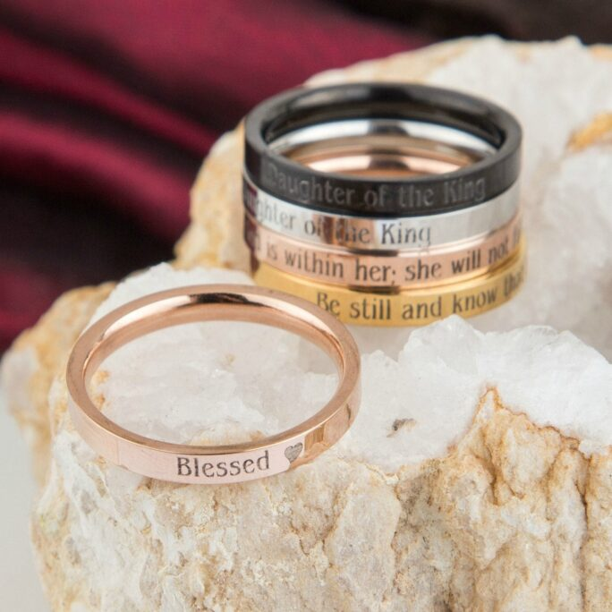 Blessed Stackable Ring, Skinny Stacking Rings, Customized, Christian Jewelry, Inspirational, Faith, Hope, Love, Baptism Anniversary Gift