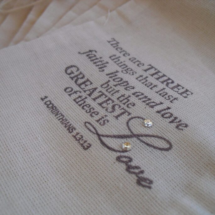 Favor Bags - Set Of 10 1 Corinthians 4x6 Muslin Gift Or Candy Item 1422