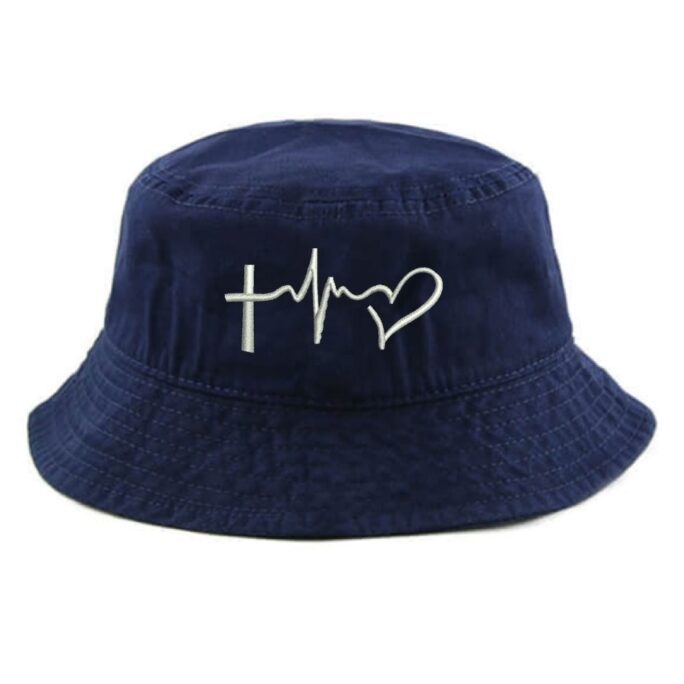 Ink Stitch 1500 Adult & Kids Unisex Faith Hope Love Embroidered Summer Cotton Bucket Hats - 8 Colors