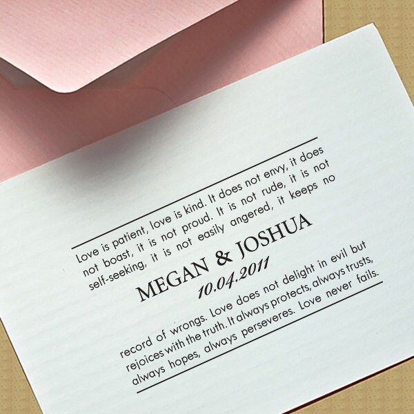 """Large Personalized Eco Friendly Self Inking Stamp Wedding Gift, Return Address, Etsy Shop Labels """"1Corinthians13 Love Is"""""""