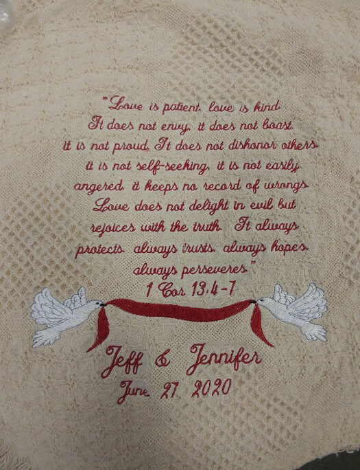 Love Is Patient Honeycomb Heart Afghan, Wedding Or Anniversary Gift Embroidered Throw