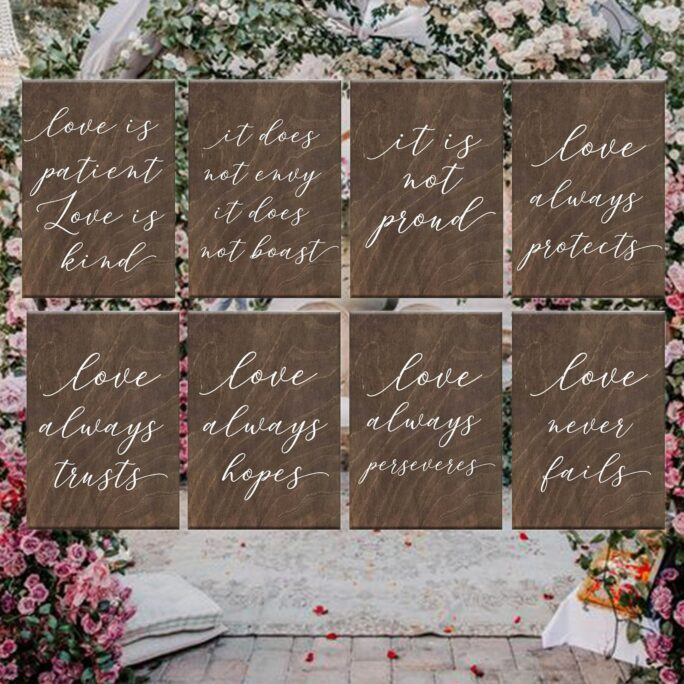 Wooden Wedding Signs, Wedding Aisle Signs, 1 Corinthians 13, Love Is Patient Love Is Kind, Rustic Wedding, Ceremony Decor, Decor