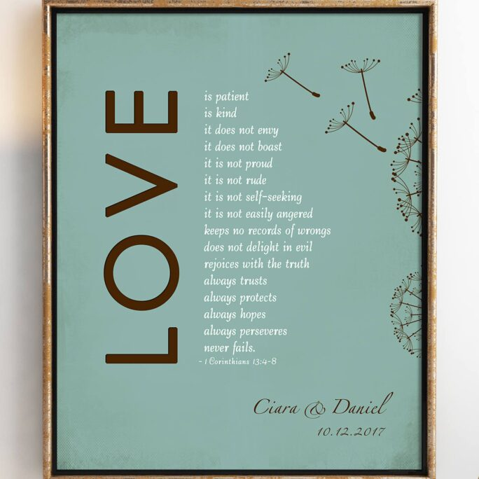 1 Corinthians 13 Love Is Patient Bible Verse Personalized Print With Names Wedding Anniversary Gift 8 X 10