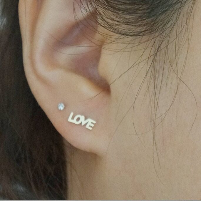 10K Solid Gold Tiny Love Earrings Cappital Letter Real - Tge040