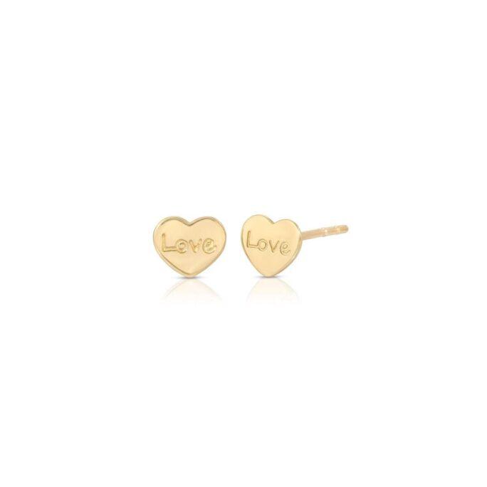 14K Gold Heart Stud Earrings, Love Earrings