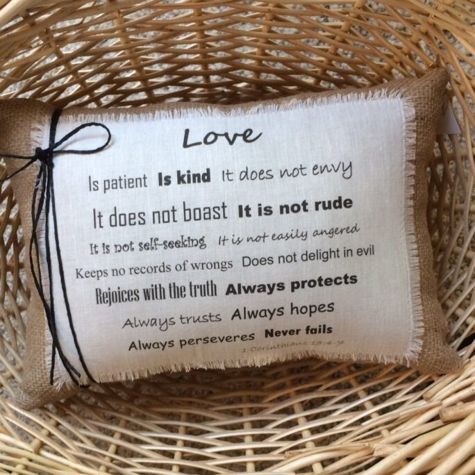 1st Corinthians Pillow~Love Scripture Pillow~Wedding Gift~Christian Gifts~Love Is Patient~Pillows With Sayings~Bible Scripture~Gift Love