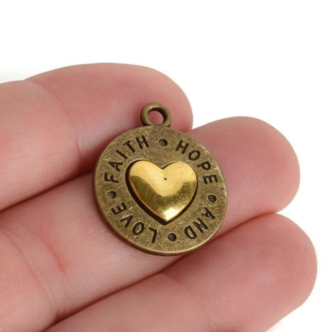5 Bronze Coin Charms, With Gold Heart, Faith Hope Love, Round Coin Charms, 24x20mm, Chs3447