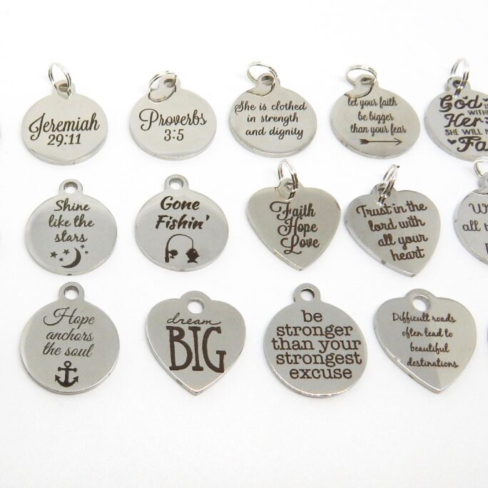 Add A Charm, Stainless Steel Inspirational Quote Charms, Scripture Motivational Hope, Faith, Love, Brave, Jeremiah, Proverbs