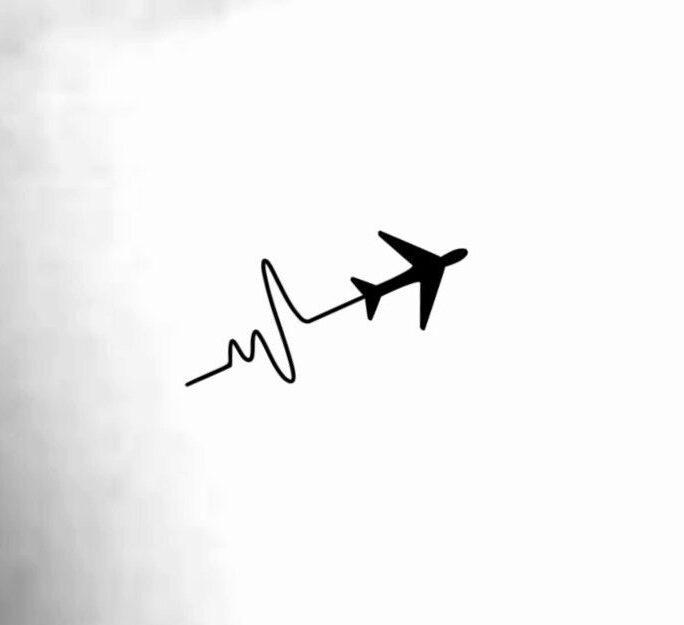 Airplane Heartbeat Temporary Tattoo/Airplane Tattoo Travel Ekg Love Heartbeat Wrist