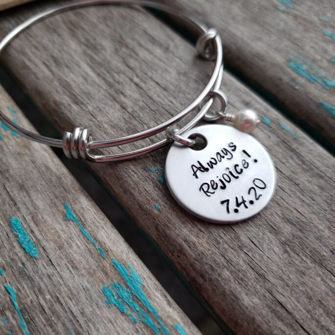 """Always Rejoice Bracelet - Hand-stamped """"Always   Date"""" Bracelet With An Accent Bead in Your Choice Of Colors"""