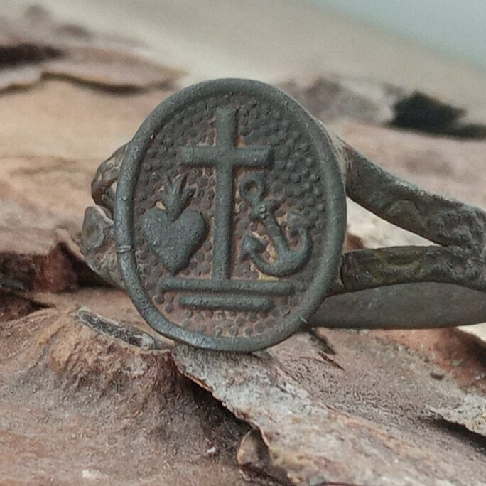Ancient Religious Ring. Ring Of Faith Hope Love. Beautiful Vintage Original Mascot Christian Artebute. Old Brass Ring, Rare Ring