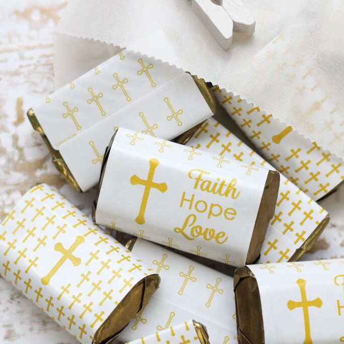 Baptism Candy Bar Wrapper Stickers For Hershey Miniatures, Gold Cross Favors, Faith Hope Love Religious Party Decorations, 45 Labels