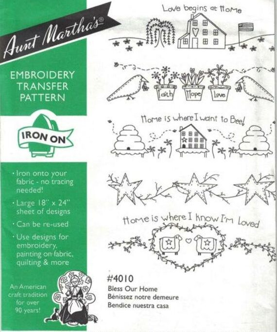 Bless Our Home Aunt Martha's #4010 Vintage Embroidery Hot Iron Transfer Pattern