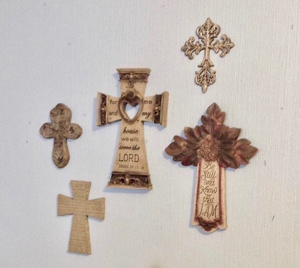 Brown Cross Wall - Eclectic Set Of 5 Crosses W/Imprinted Scripture Instant Grouping Home Decor Christian Religion Faith