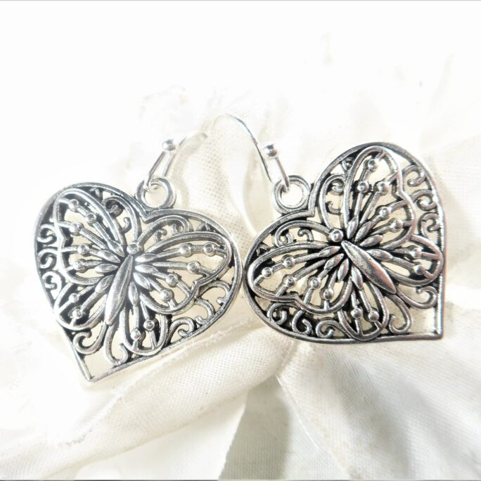 Butterfly Heart Silver Love Earrings - Jewelry Special Gift For Her