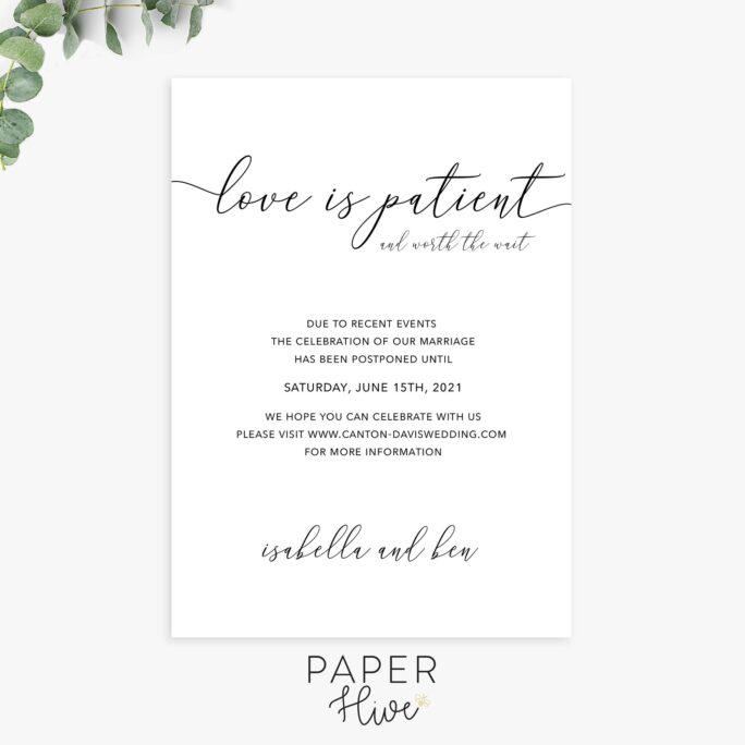 Change The Date, Love Is Patient, Save New Wedding Postponement Announcements, Printable Or Printed Cards