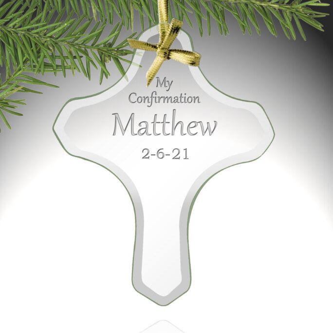 Customized My Confirmation Glass Cross Ornament - Personalized Gifts For Girls/Boys