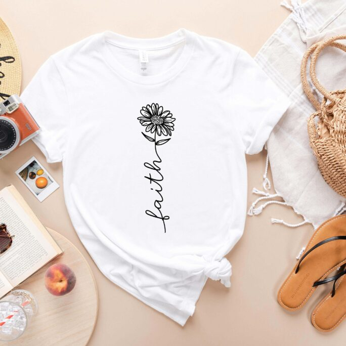 Faith Flower T-Shirt - Love Shirt Sunflower Clothes Hope Apparel Religious Outfit Shirts For Women