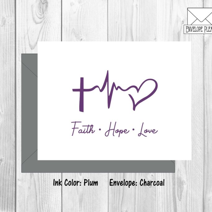 Faith Hope Love Note Cards, Religious Scripture Cross Thank You Religion Baptism Stationery Gift