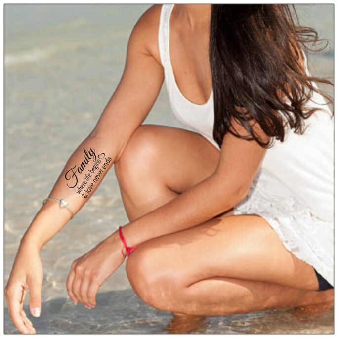 Family Tattoo Where Life Begins & Love Never Ends Temporary Tattoos