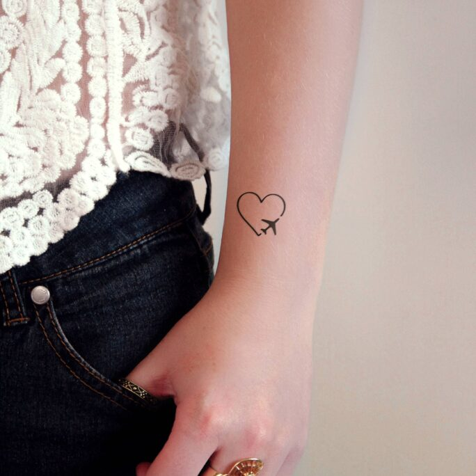 Heart With Plane Temporary Tattoo/Small Travel Tattoos Airplane Love Traveler Gift