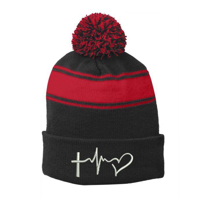 Ink Stitch Stc28 Faith Hope & Love Sign Embroidery Pom Striped Winter Beanie Hats - 6 Colors
