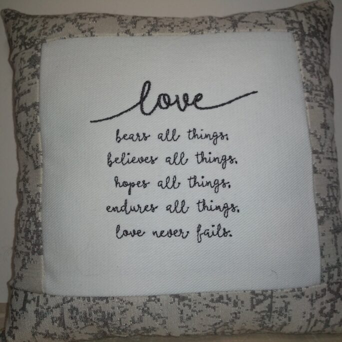 """Love 1 Corinthians 13 Verse Small Pillow Approx 9 X Machine Embroidered Pillow Free Shipping"""""""