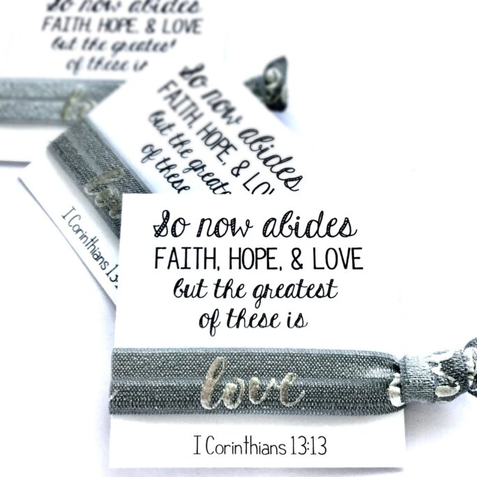 Love Hair Tie Favors   Christian Ties Faith, Hope, Greatest Of These Is Church Gift Youth Group