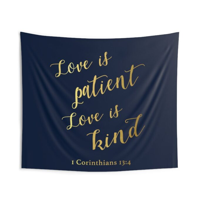 Love Is Patient Love Kind Cloth Backdrop Tapestry, Christian Wedding Decor, Church Decorations