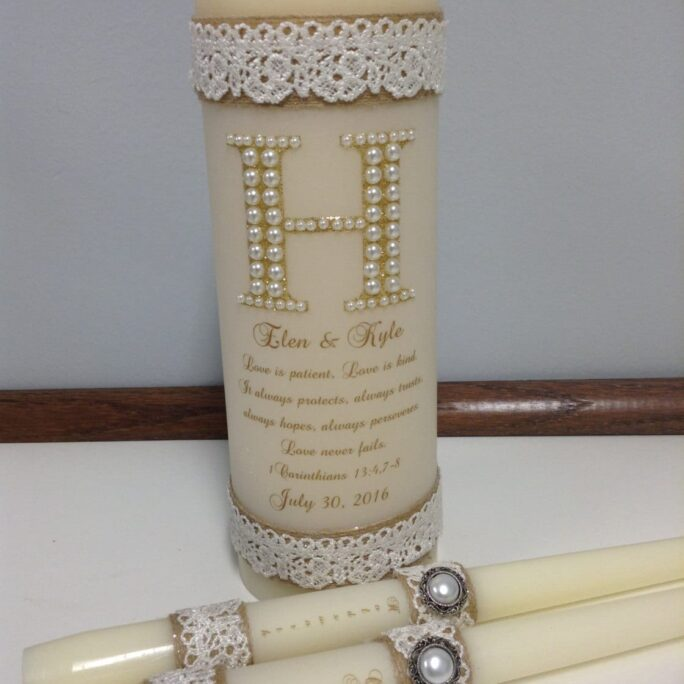 Love Is Patient Rustic Unity Candle Set