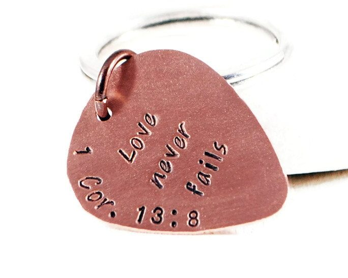 Love Never Fails Keychain. Personalized Engraved Copper Guitar Pick. Corinthians Verse Gift. Custom Rustic Hand Stamped