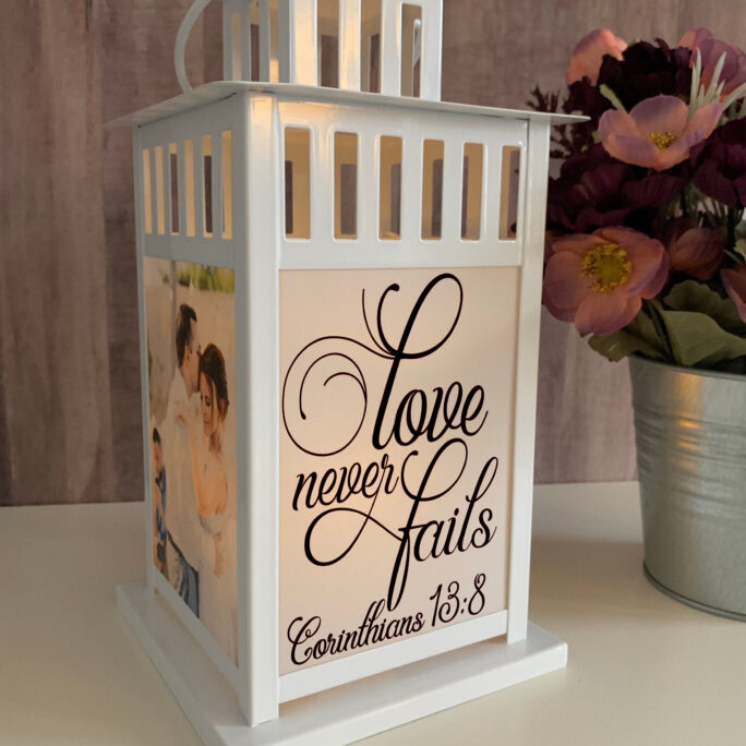 Love Never Fails, Photo Lantern, Memorial Lantern , Memorial Candle, Sympathy, Remembrance, Keepsake, Bereavement Gift, Loss Of A Loved