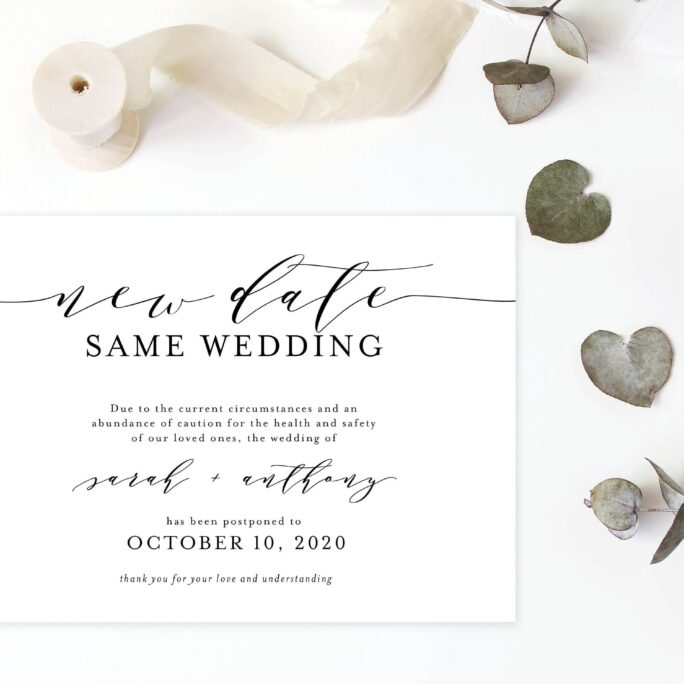 New Date Same Wedding Invitation, Love Is Patient Wedding, Postponed Rescheduled Plan | Digital Or Printed Cards With Envelopes