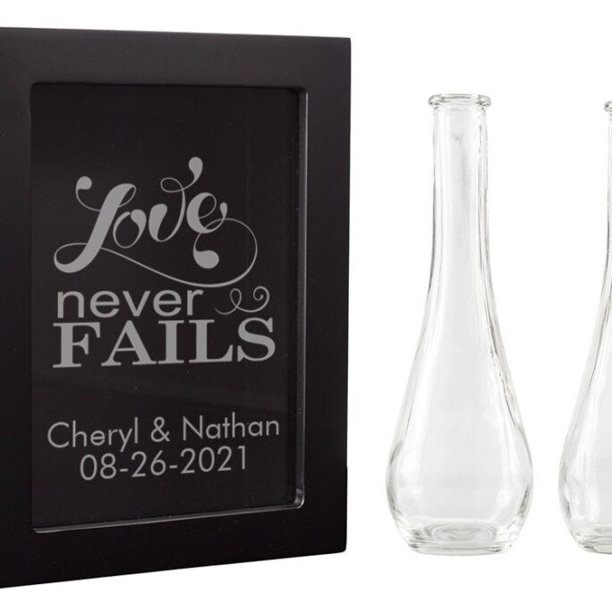 Personalized Engraved Unity Sand Ceremony Shadow Box Set   30 Designs ++ With Pouring Flutes + Wedding Accessory