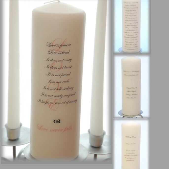 Personalized Unity Candle Set With Love Scripture & Memorial Candle, Wedding Candles, Memorial Candle