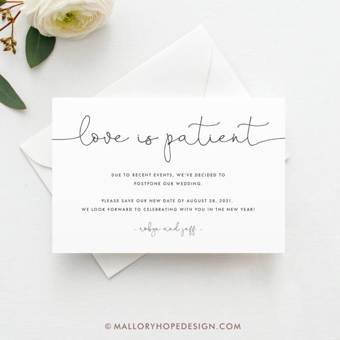 Printed Love Is Patient Card, Change The Date, Minimal Of Plans, Postponed Date Announcement, Wedding Postponement, Canceled Event
