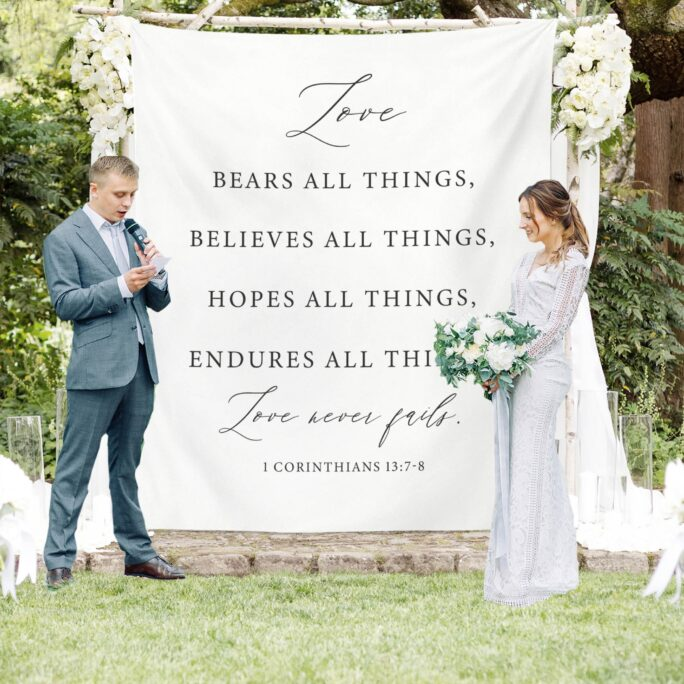Wedding Tapestry Backdrop, Outdoor Decorations, Backdrop For Ceremony, Rustic Decor, Love Never Fails Sign
