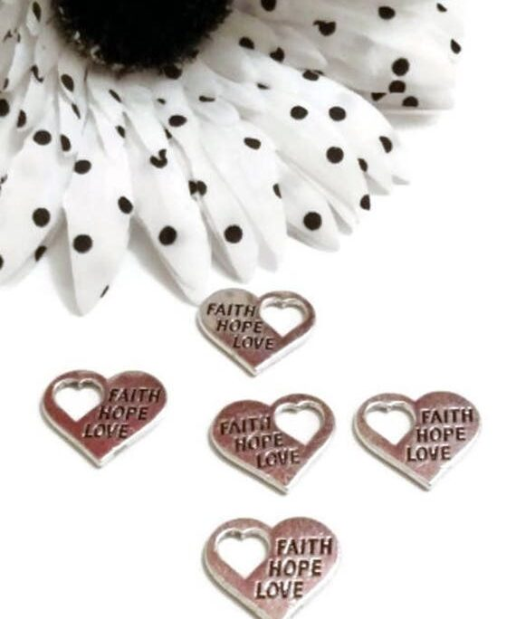 10 Pc Faith Love Hope Charms With Heart Cut Out - Silver Tone Word Message