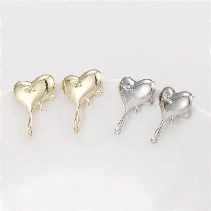 4Pcs Lover Earring Stud, Heartt Shape Stud With Loop, Gold Platinum Plated Brass Jewelry Finding Wholesale Nickel Lead Free