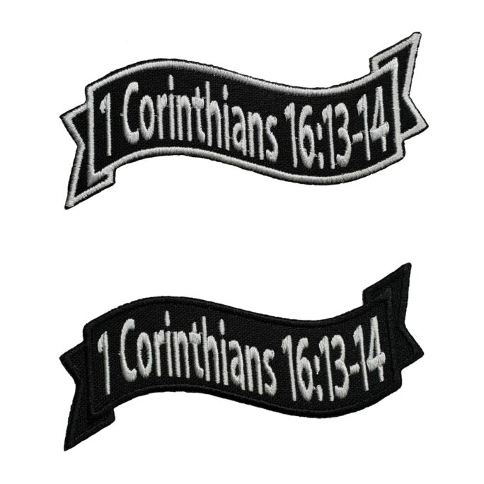 """Bible Verse Patch 1 Corinthians 1613-14 Embroidered Applique Iron On 4.0"""" X 1.5"""" Religious Jesus Christ Church Brother Love"""