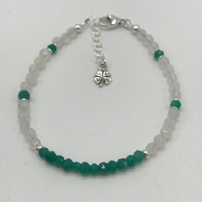 Faceted Green Jade & White Agate Minimalist Bracelet in Sterling Silver With Four Leaf Clover Dangle Charm/Lobster Clasp/St. Patricks Day